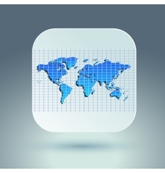 Map icon for application on grey background Grid vector image