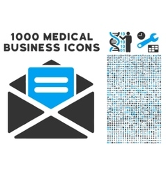 Open Mail Icon with 1000 Medical Business vector image