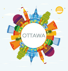 Ottawa skyline with color buildings blue sky and vector