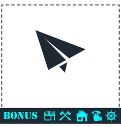 Paper plane icon flat vector