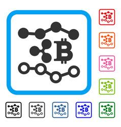 Ripple bitcoin trends framed icon vector