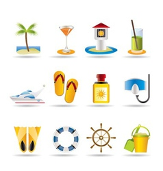 sea and holiday icons vector image vector image