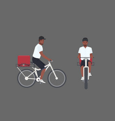 Smiling delivery man riding bicycle male cyclist vector