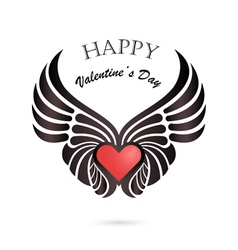 Valentine day heart with angel wings vector