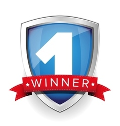 Winner shield with red ribbon vector image vector image