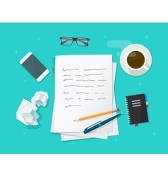 Writer workplace  flat cartoon paper sheets vector