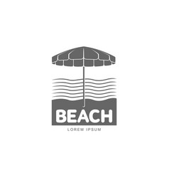 logo template with beach umbrella standing against vector image