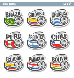 Flags american teams with soccer ball vector