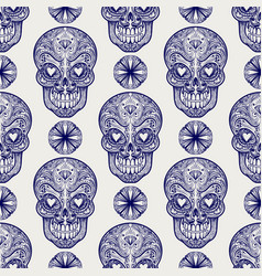 Mexican skull and diamonds seamless pattern vector