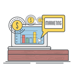 Laptop with statistic and coins to marketing vector