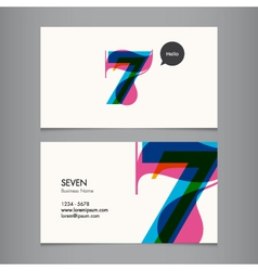 Business card with number 7 vector