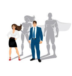 Businessman and business woman office superheroes vector