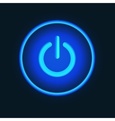 Blue neon button vector