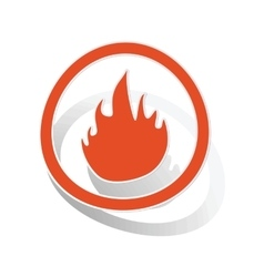 Fire sign sticker orange vector