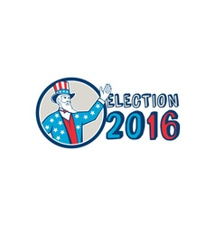 Election 2016 uncle sam hand up circle retro vector
