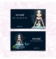 Two blue cards with mermaids and the text vector