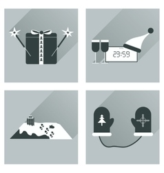 Set of flat icons with long shadow new year vector