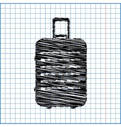 Luggage icon with pen effect on paper vector