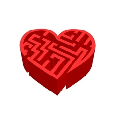 Maze of love red labyrinth on white vector image