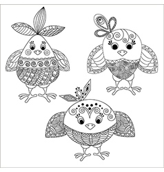 Three cheerful chickens vector
