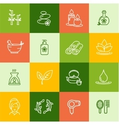 Spa outline icon set vector