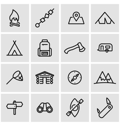 Line camping icon set vector