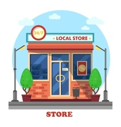 Local shop or store building outdoor exterior vector