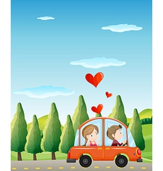 A couple riding on a car vector image vector image