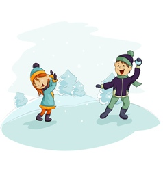 a snowball fight vector image