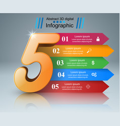 Abstract infographic five icon vector