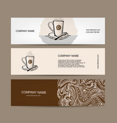 Banners design with coffee cup vector