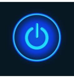 Blue neon button vector