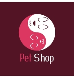 Cat and dog like Yin Yang pet shop logo vector image