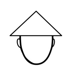 Chinese hat culture icon vector