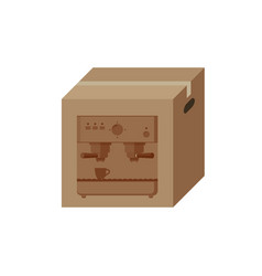 Coffee machine in box vector