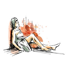 colored hand sketch woman in sauna vector image