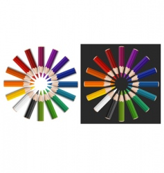 colour pencils in circle vector image vector image