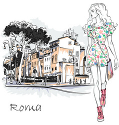 Cute fashion girl in rome italy vector