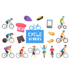 cycle racing set vector image vector image
