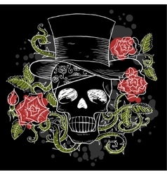 Dark skull in the hat with roses vector