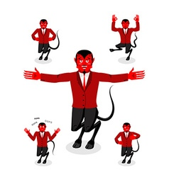 Devil set of poses satan set of movements horned vector