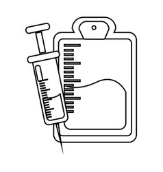 Figure blood donation bag with syringe transfusion vector