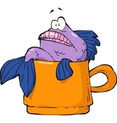 fish in a mug vector image