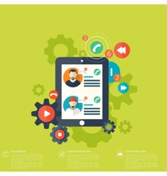 Flat tablet icon Communication concept Social vector image vector image