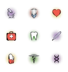Healing icons set pop-art style vector