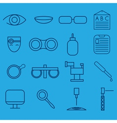 Line craft icons set of ophthalmology and vector