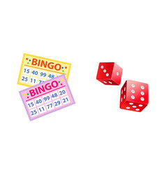 Lottery symbols - bingo game cards and two dices vector
