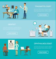 medical examination horizontal banners vector image vector image