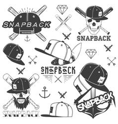 monochrome set of snapback badges emblems vector image vector image