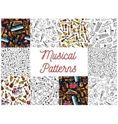 Musical instruments and notes pattern backgrounds vector image vector image
